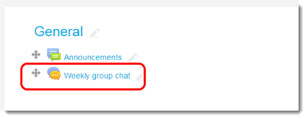 View the Chat activity link on your course main page.