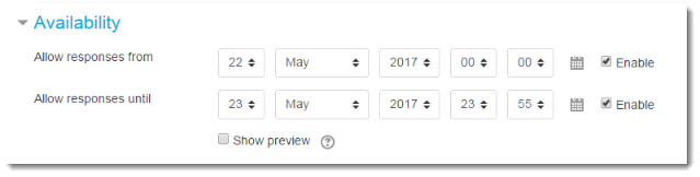Set Open and Until dates.