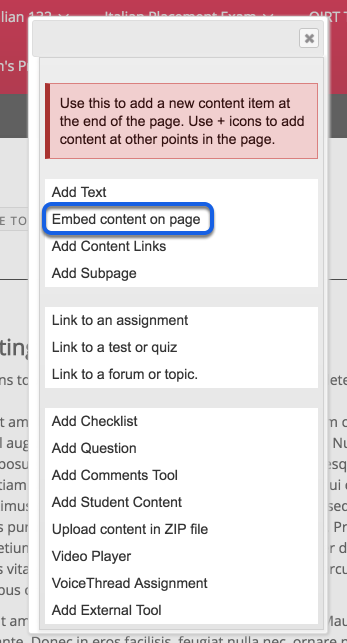 Select Embed Content on Page