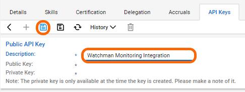 Give the API key a description and click Save.