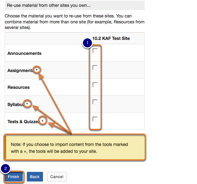 Choose tool(s) from which you would like to copy content.