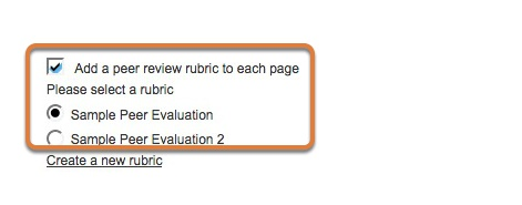 Select Add a peer review rubric, then select or create one.