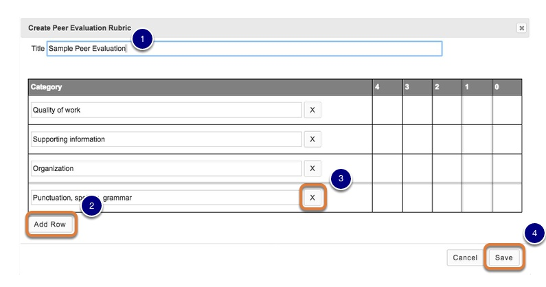Add or edit items on the rubric.