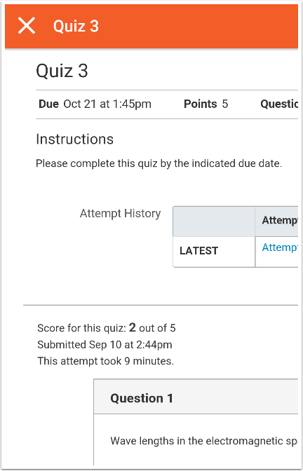 View Quiz Results