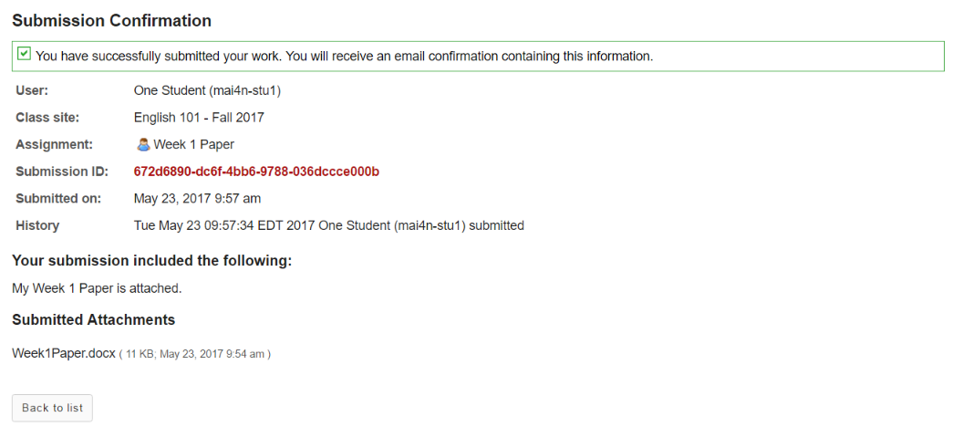 Submission confirmation.