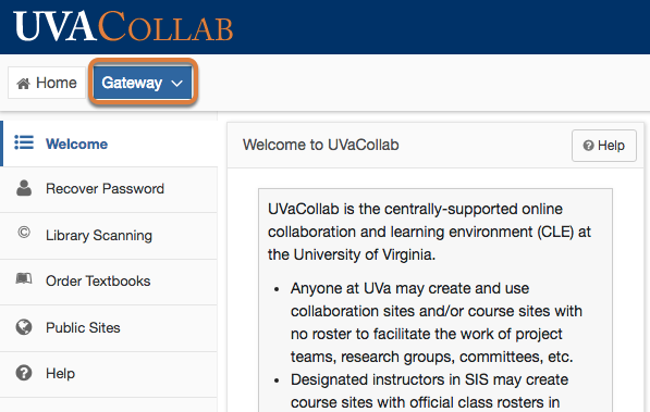 Go to the UVaCollab Gateway.