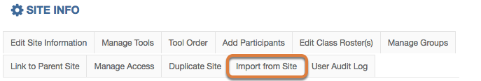 Click the Import from Site button.