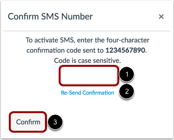 Confirm SMS Number