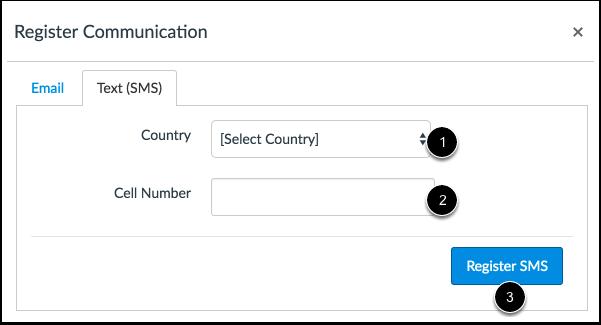 Registrar SMS: Internacional
