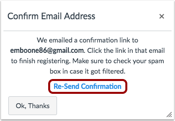 Confirm Email Address