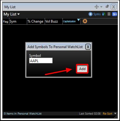 7. Click the Add button.