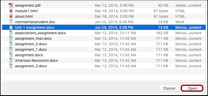 Choose File to Upload