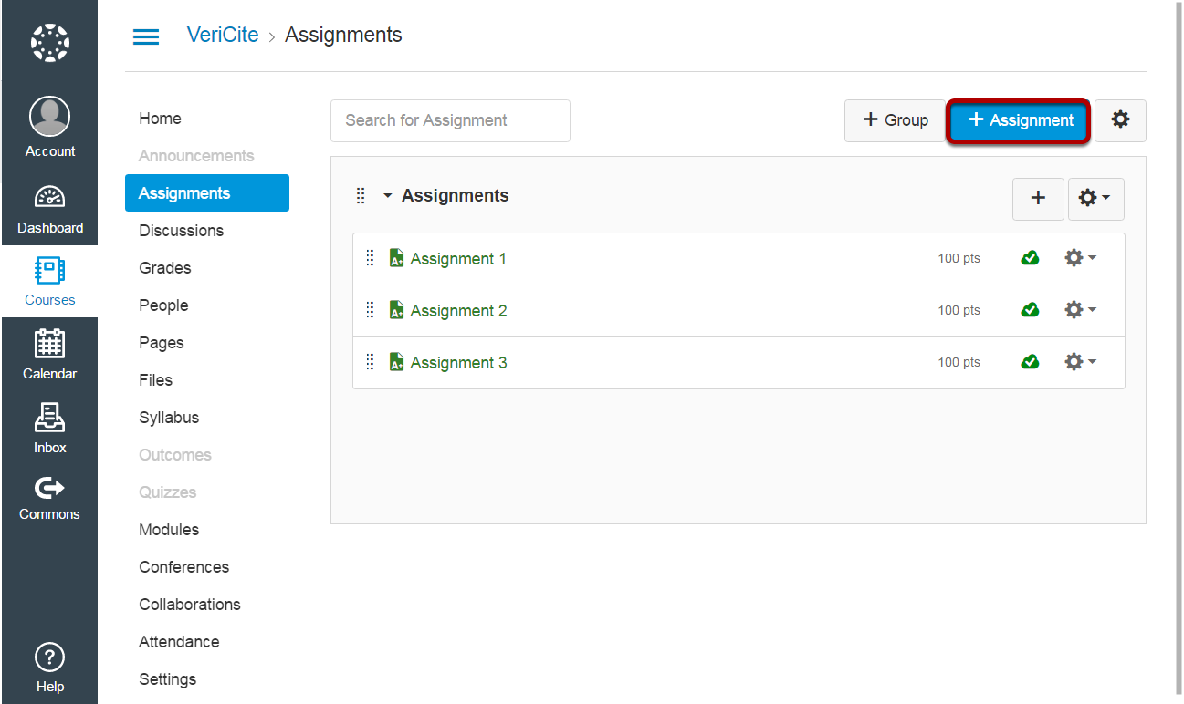 Click the +Assignments button.