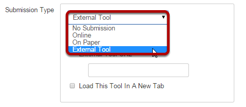 Select External Tool as the Submission Type.