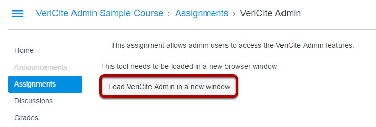 Click on the Load the assignment in a new window button.