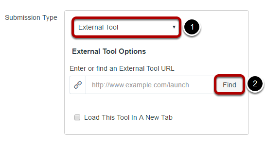 For the Submission Type, select External Tool and then click Find.
