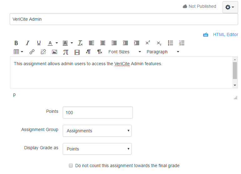 Enter the assignment information.