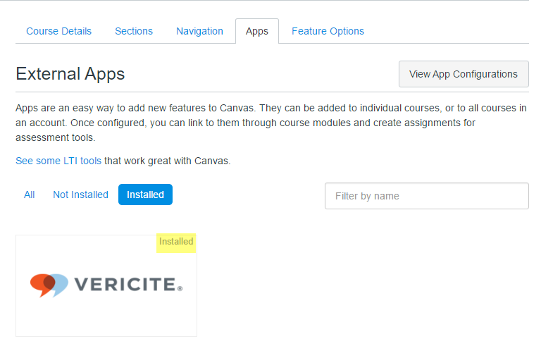 VeriCite has now been added to your course and will appear in the list of Installed External Apps.