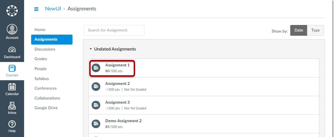 Click on the assignment you want to view.