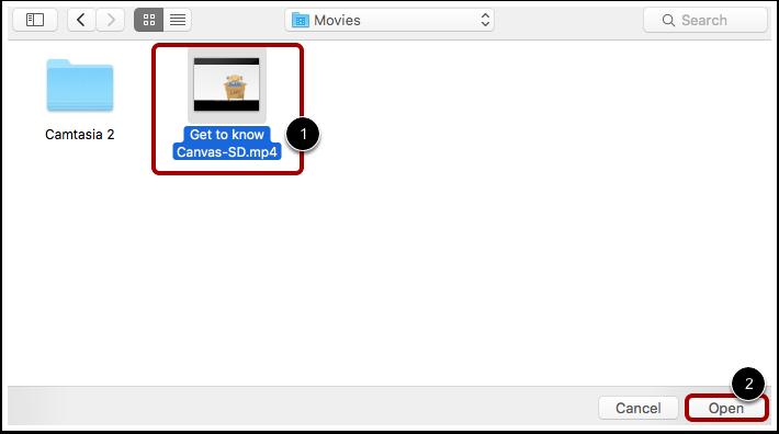 Ouvrir un fichier vidéo