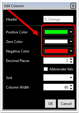 3. Click the drop down beside the positive, zero, or negative number you would like to edit.