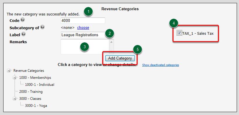 Adding a Revenue Category