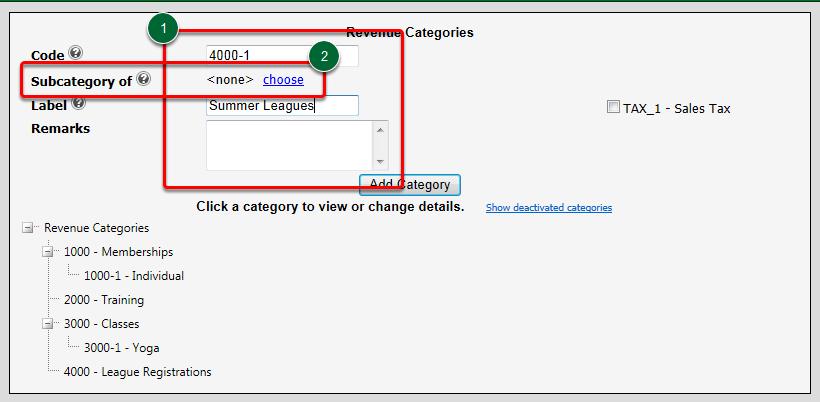 Adding a Sub Category of a main Revenue Category