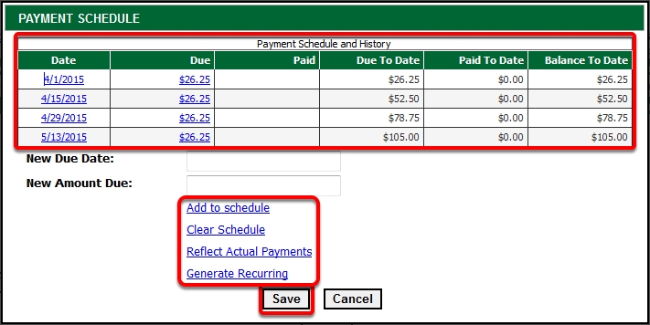 Recurring Payment Schedule