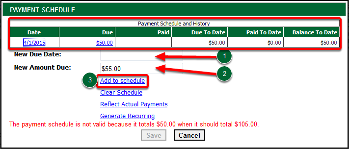 Enter New Due Date & New Amount Due