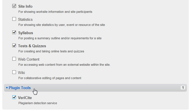 """Now that the VeriCite LTI tool has been added to the system, instructors will see it listed as a """"Plugin Tool"""" when they go to Site Info > Edit Tools."""