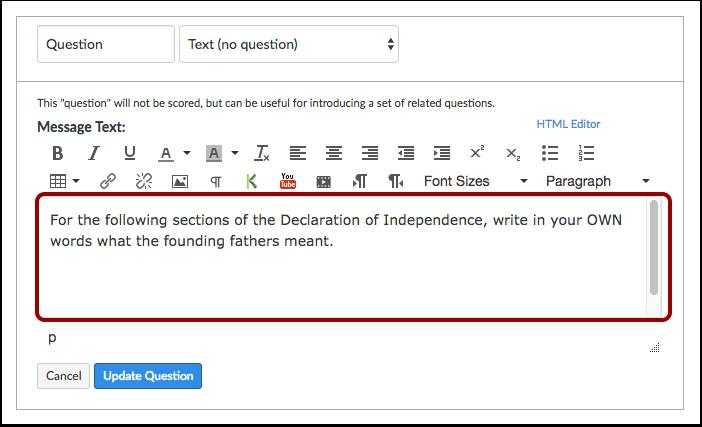 Edit Question Details