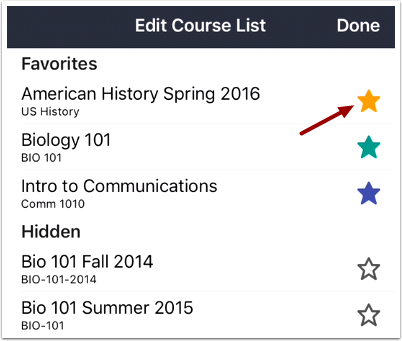 Select Favorite Courses