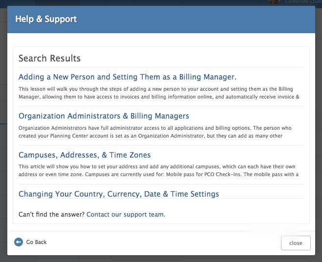 View an Article, or submit a support request