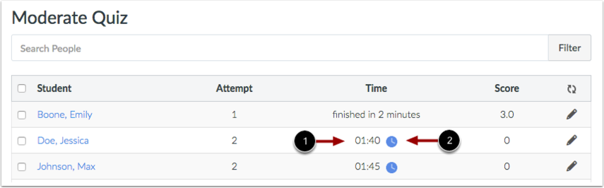 View Timed Quiz Current Attempt Time
