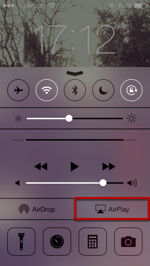 """Select """"AirPlay"""" from Control Center"""