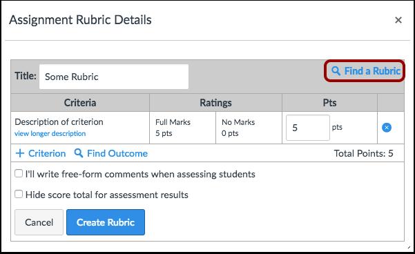 Create or Find Rubric