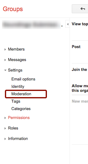 """Click """"Moderations"""" in Left Panel"""