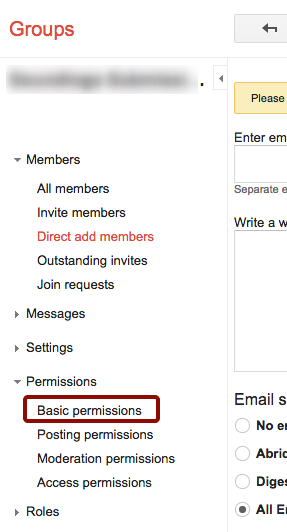 """Click """"Basic Permissions"""" in Left Panel"""