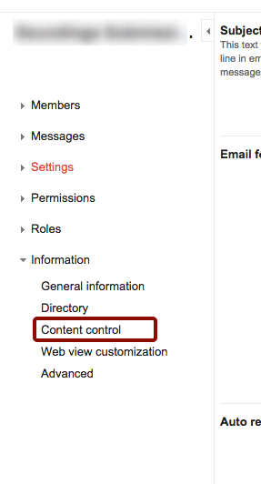 """Click """"Content Control"""" in Left Panel"""