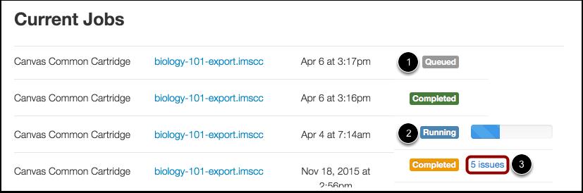 View Import Status