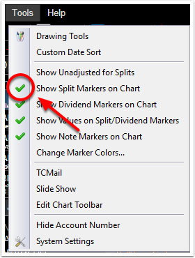 3. Turn the Split Markers on or off by placing a green check mark next to this option.
