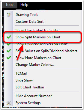 2. Select Show Split Markers on Chart.