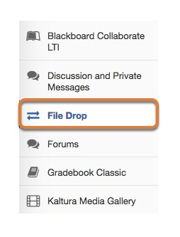 To access this tool, select Drop Box from the Tool Menu in your site.