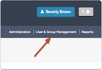 "-or- Click on ""User & Group Management"" from the navigation menu in the upper right of most screens in the program"