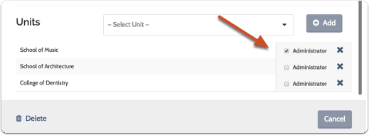 Check the box to add the user as an Administrator of a particular unit