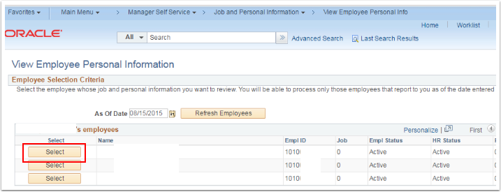 Employee Selection Criteria section