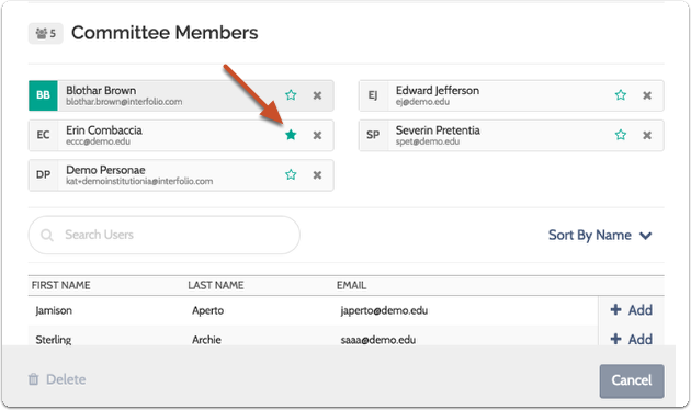 Click the star next to a member's name to make them a Committee Manager