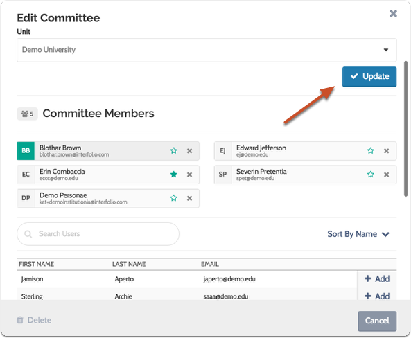 "Click ""Update"" when you are finished creating the standing committee"