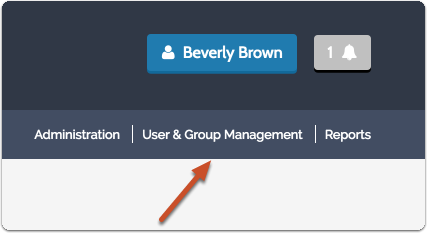 "Click on ""User & Group Management"" in the navigation menu to the upper right"