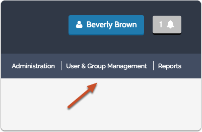"Click on ""User & Group Management"" in the navigation menu to the top right"